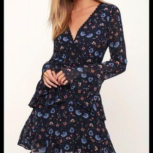 Lulus navy blue floral mini dress